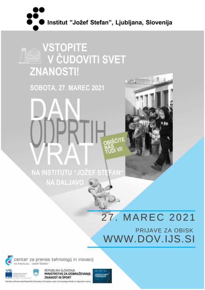 Dan odprtih vrat Instituta »Jožef Stefan«, 27.3.2021, na daljavo