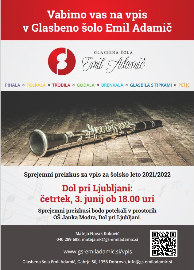 Vpis v Glasbeno šolo Emil Adamič